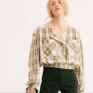 Free People The Good Life Plaid Top